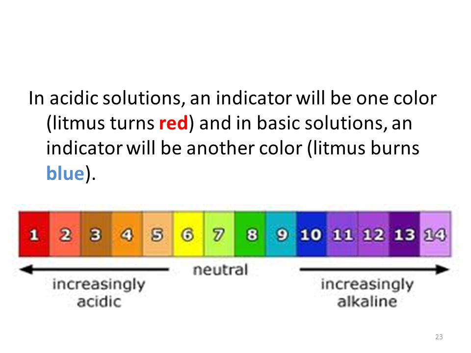 In acidic solutions, an indicator will be one color (litmus turns red) and in basic solutions, an indicator will be another color (litmus burns blue).