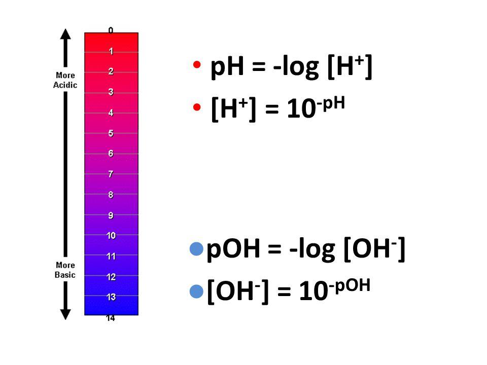 pH = -log [H + ] [H + ] = 10 -pH pOH = -log [OH - ] [OH - ] = 10 -pOH