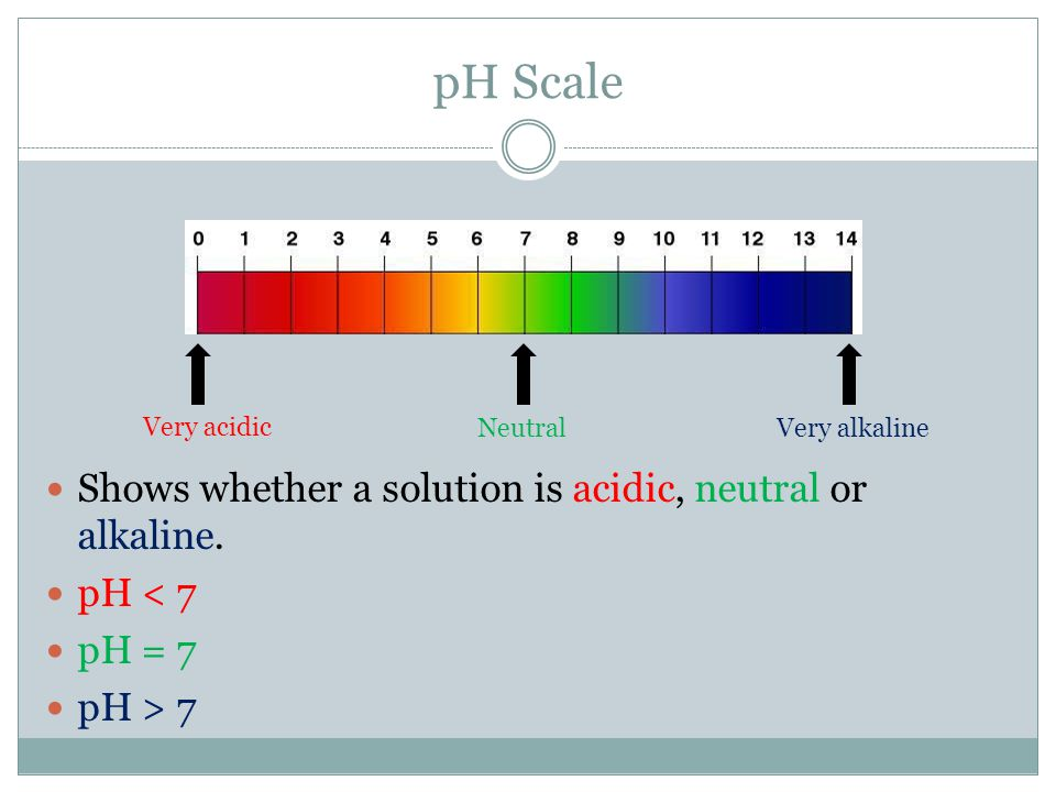 pH Scale Very acidic Very alkalineNeutral Shows whether a solution is acidic, neutral or alkaline. pH < 7 pH = 7 pH > 7