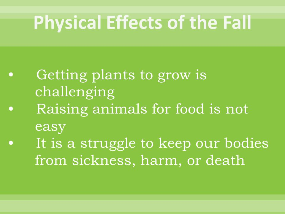 Getting plants to grow is challenging Raising animals for food is not easy It is a struggle to keep our bodies from sickness, harm, or death