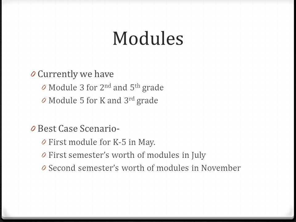 Modules 0 Currently we have 0 Module 3 for 2 nd and 5 th grade 0 Module 5 for K and 3 rd grade 0 Best Case Scenario- 0 First module for K-5 in May.