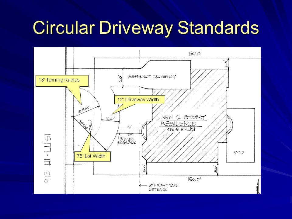 Circular Driveway Standards 12' Driveway Width 75' Lot Width 18' Turning Radius