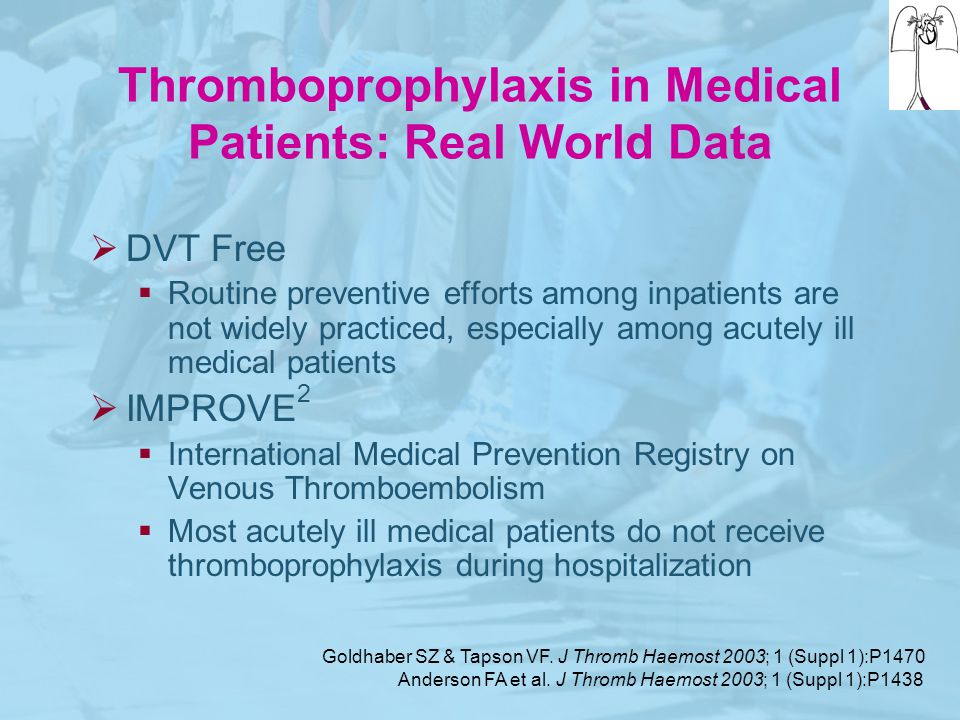 Thromboprophylaxis in Medical Patients: Real World Data  DVT Free  Routine preventive efforts among inpatients are not widely practiced, especially
