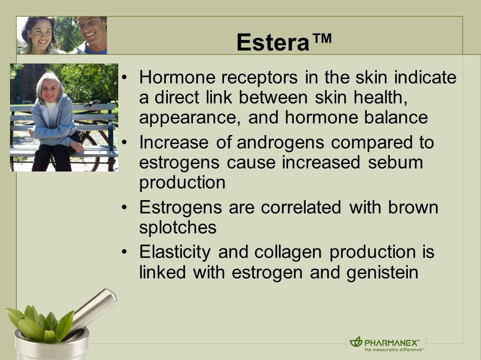 Estera™ Hormone receptors in the skin indicate a direct link between skin health, appearance, and hormone balance Increase of androgens compared to estrogens cause increased sebum production Estrogens are correlated with brown splotches Elasticity and collagen production is linked with estrogen and genistein