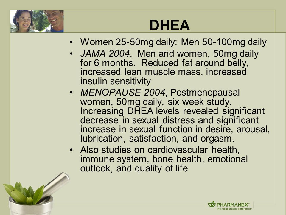 DHEA Women 25-50mg daily: Men 50-100mg daily JAMA 2004, Men and women, 50mg daily for 6 months.
