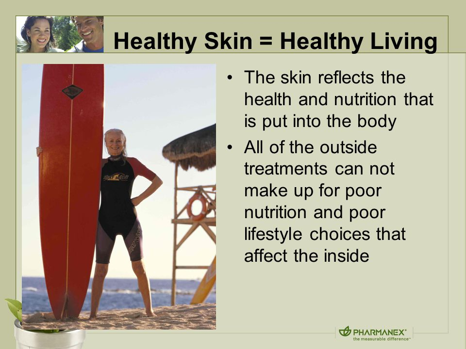 The skin reflects the health and nutrition that is put into the body All of the outside treatments can not make up for poor nutrition and poor lifestyle choices that affect the inside Healthy Skin = Healthy Living