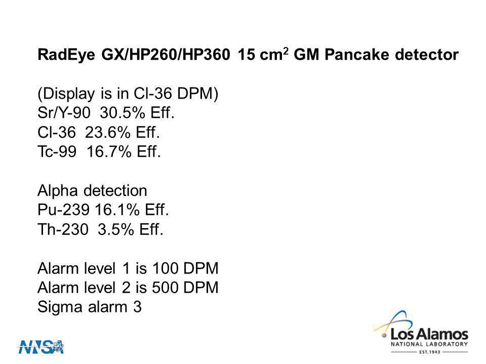 RadEye GX/HP260/HP360 15 cm 2 GM Pancake detector (Display is in Cl-36 DPM) Sr/Y-90 30.5% Eff. Cl-36 23.6% Eff. Tc-99 16.7% Eff. Alpha detection Pu-23