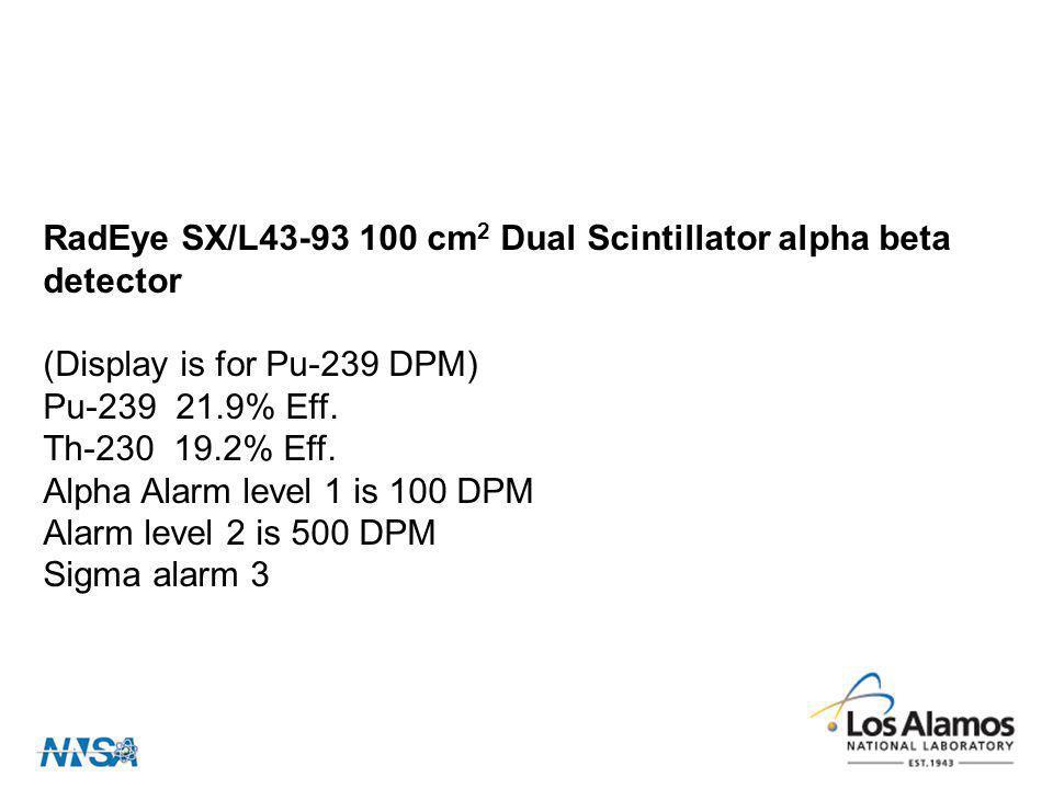 RadEye SX/L43-93 100 cm 2 Dual Scintillator alpha beta detector (Display is for Pu-239 DPM) Pu-239 21.9% Eff. Th-230 19.2% Eff. Alpha Alarm level 1 is