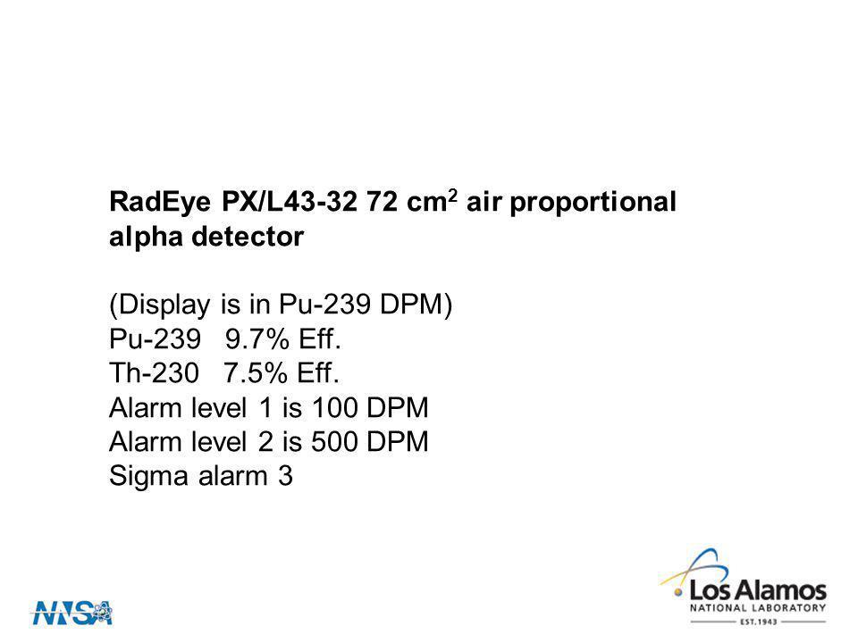 RadEye PX/L43-32 72 cm 2 air proportional alpha detector (Display is in Pu-239 DPM) Pu-239 9.7% Eff. Th-230 7.5% Eff. Alarm level 1 is 100 DPM Alarm l
