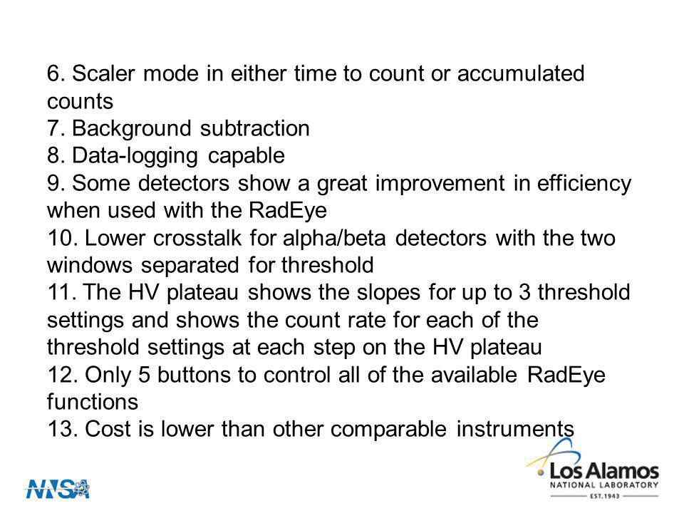 6.Scaler mode in either time to count or accumulated counts 7.