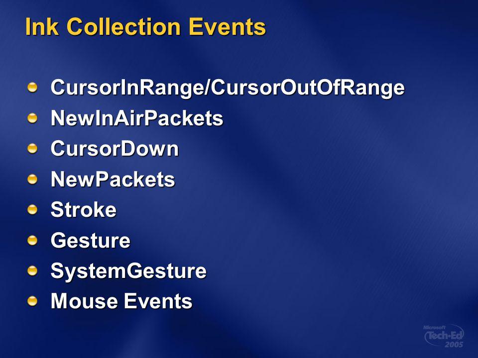 Ink Collection Events CursorInRange/CursorOutOfRangeNewInAirPacketsCursorDownNewPacketsStrokeGestureSystemGesture Mouse Events