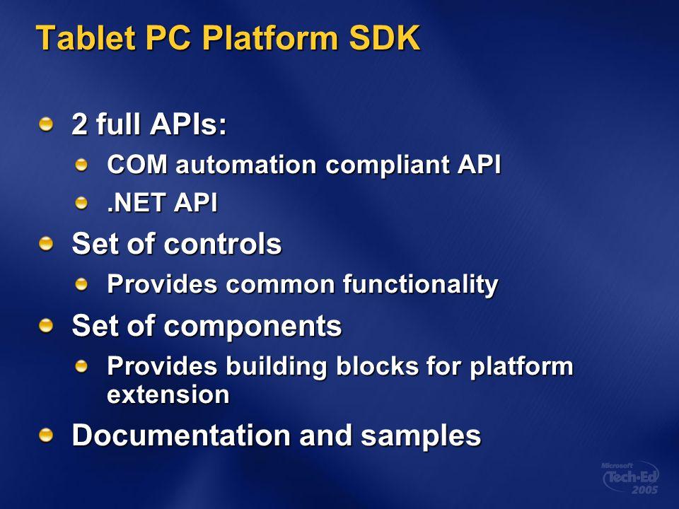 Tablet PC Platform SDK 2 full APIs: COM automation compliant API.NET API Set of controls Provides common functionality Set of components Provides building blocks for platform extension Documentation and samples