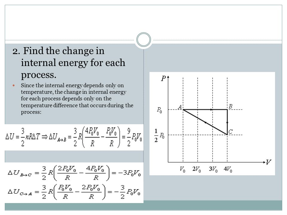 2. Find the change in internal energy for each process. Since the internal energy depends only on temperature, the change in internal energy for each
