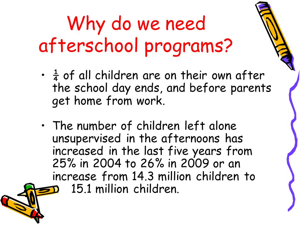 Why do we need afterschool programs.The hours between 3 p.m.