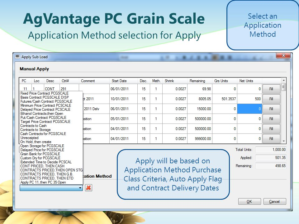 AgVantage PC Grain Scale Application Method selection for Apply Select an Application Method Apply will be based on Application Method Purchase Class