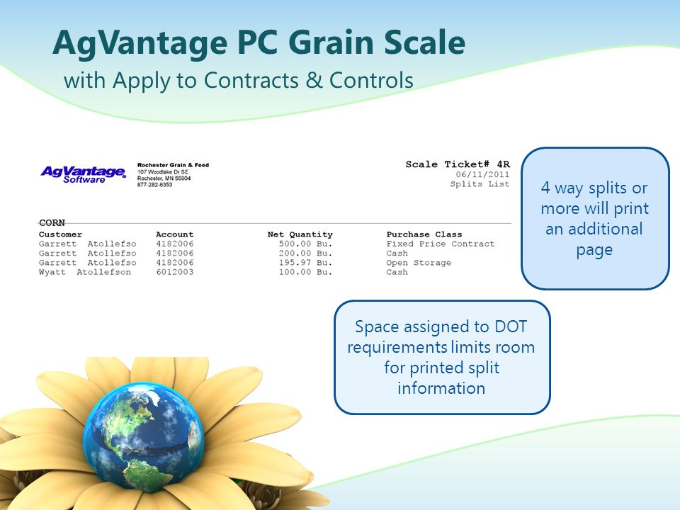AgVantage PC Grain Scale with Apply to Contracts & Controls 4 way splits or more will print an additional page Space assigned to DOT requirements limi