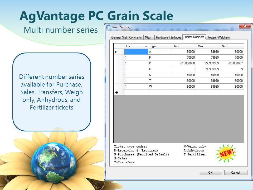 AgVantage PC Grain Scale Multi number series Different number series available for Purchase, Sales, Transfers, Weigh only, Anhydrous, and Fertilizer t