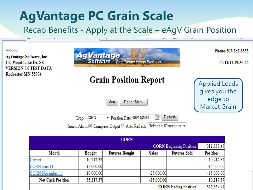 AgVantage PC Grain Scale Recap Benefits - Apply at the Scale – eAgV Grain Position Applied Loads gives you the edge to Market Grain