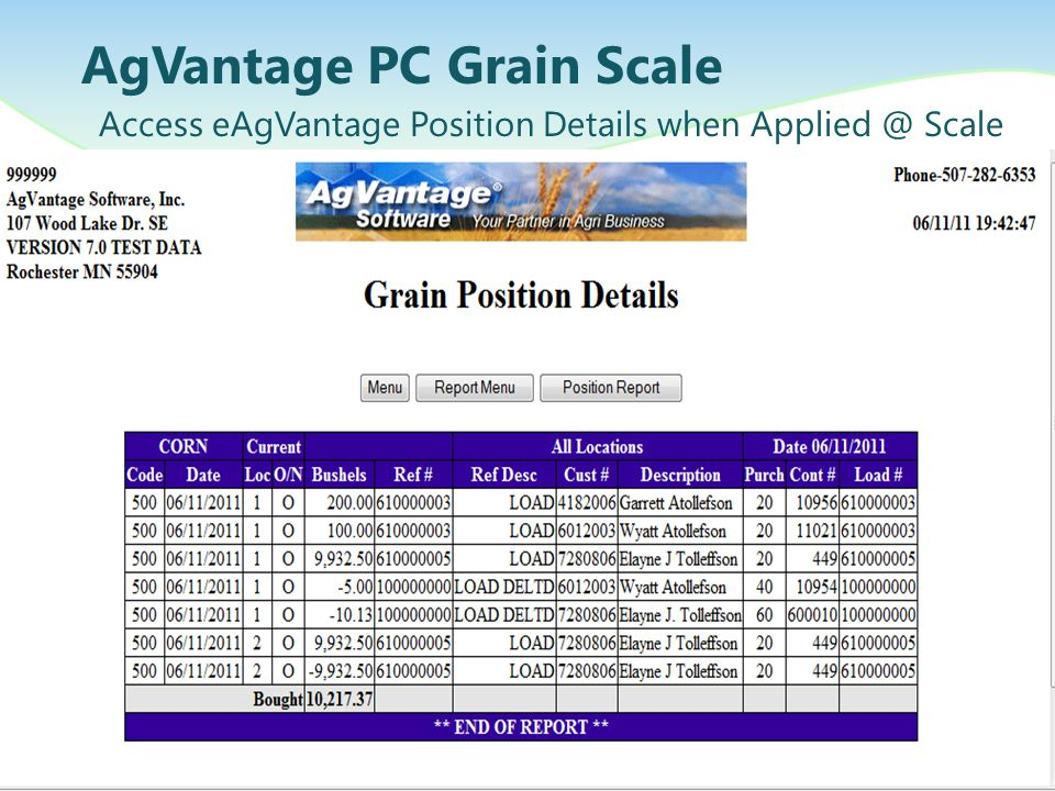 AgVantage PC Grain Scale Access eAgVantage Position Details when Applied @ Scale