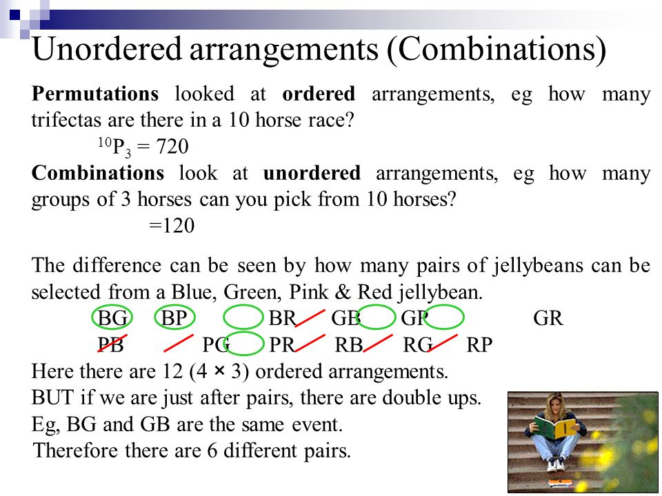 Unordered arrangements (Combinations) Therefore there are 6 different pairs.