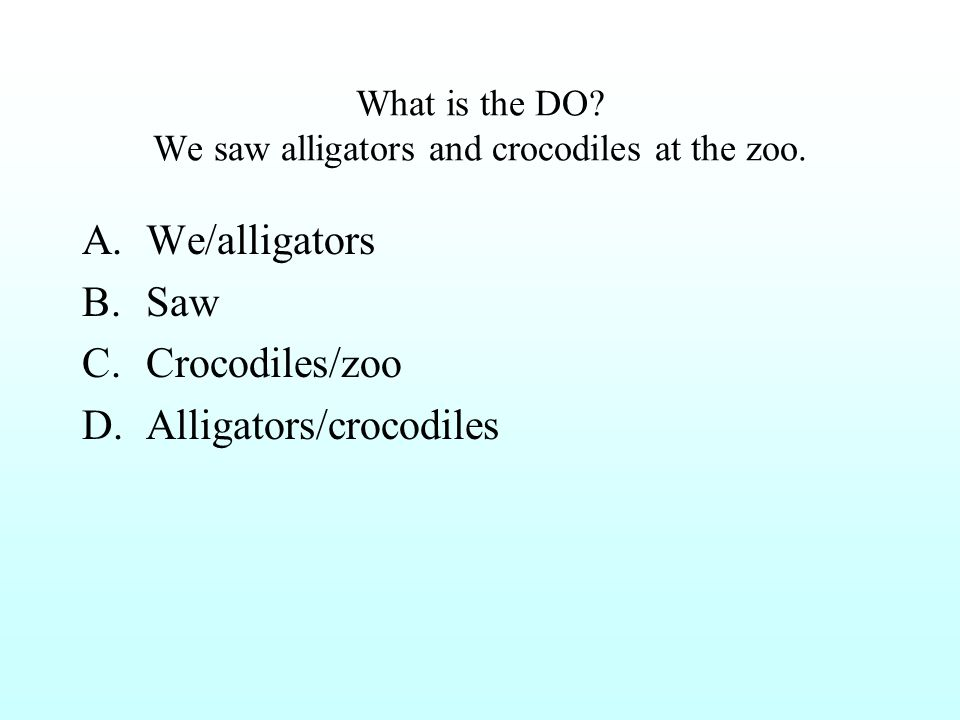 What is the DO? We saw alligators and crocodiles at the zoo. A.We/alligators B.Saw C.Crocodiles/zoo D.Alligators/crocodiles
