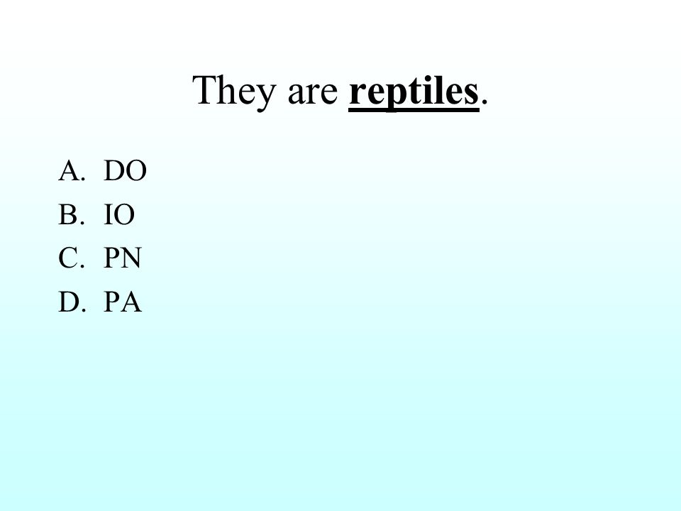 They are reptiles. A.DO B.IO C.PN D.PA