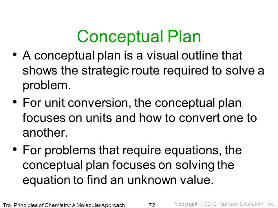 Tro, Principles of Chemistry: A Molecular Approach Conceptual Plan A conceptual plan is a visual outline that shows the strategic route required to so