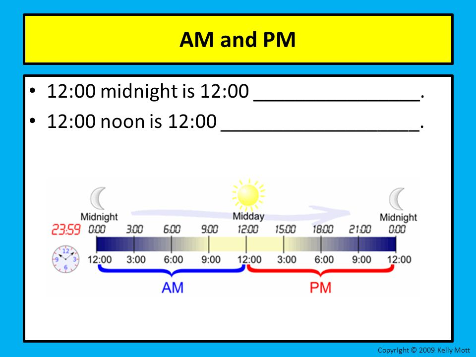 AM and PM 12:00 midnight is 12:00 ________________.