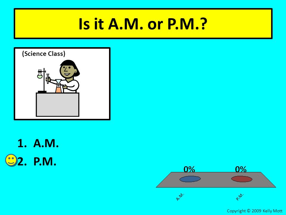 Is it A.M. or P.M.? 1.A.M. 2.P.M. Copyright © 2009 Kelly Mott (Science Class)