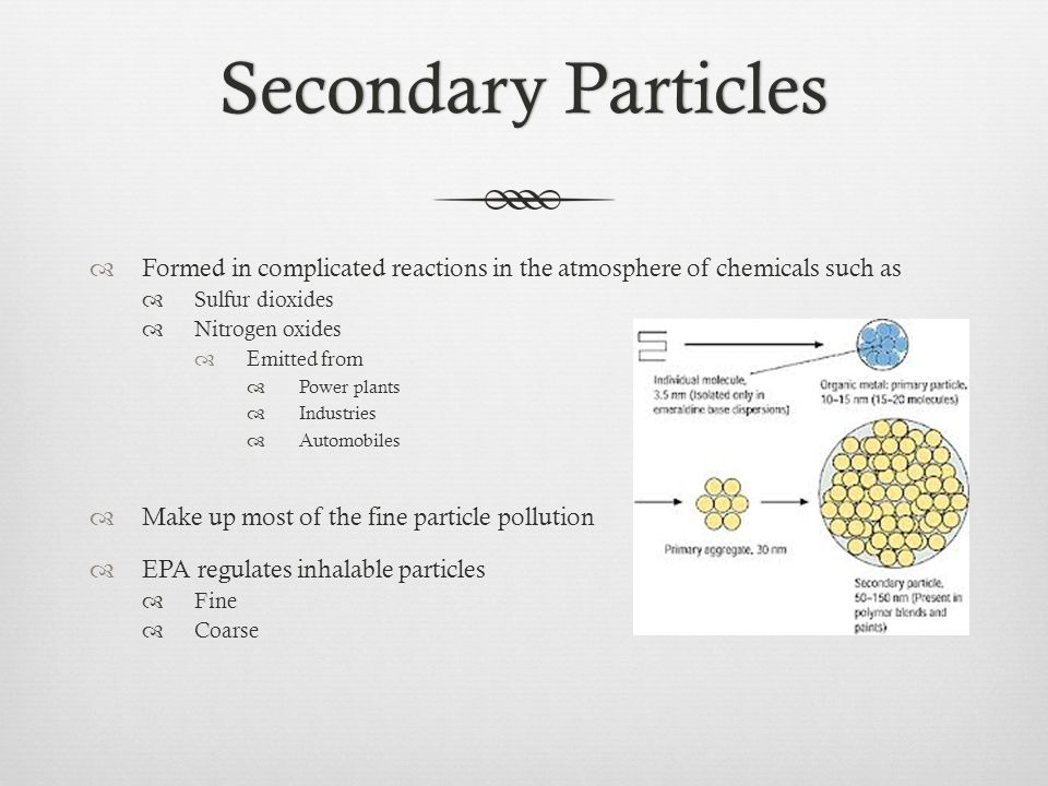 Secondary ParticlesSecondary Particles  Formed in complicated reactions in the atmosphere of chemicals such as  Sulfur dioxides  Nitrogen oxides  Emitted from  Power plants  Industries  Automobiles  Make up most of the fine particle pollution  EPA regulates inhalable particles  Fine  Coarse