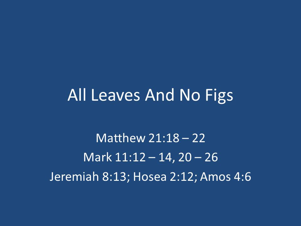 All Leaves And No Figs Matthew 21:18 – 22 Mark 11:12 – 14, 20 – 26 Jeremiah 8:13; Hosea 2:12; Amos 4:6