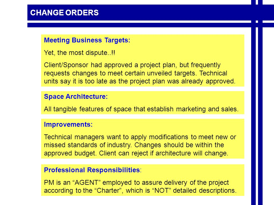 CHANGE ORDERS Professional Responsibilities: PM is an AGENT employed to assure delivery of the project according to the Charter , which is NOT detailed descriptions.