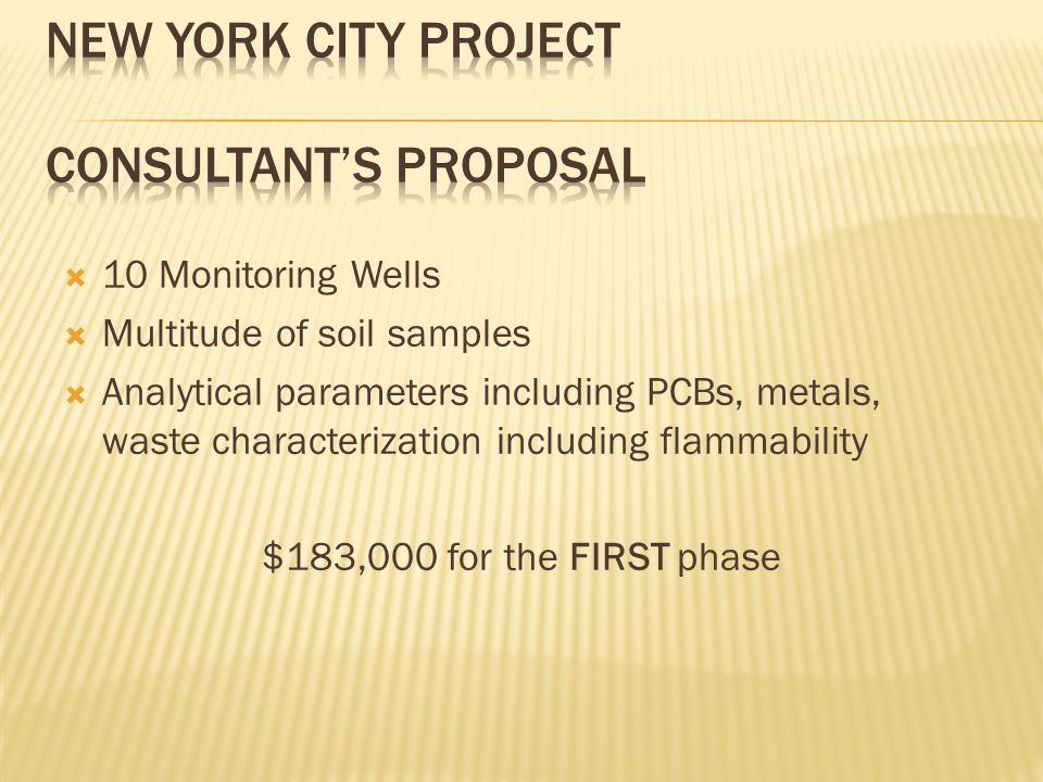  10 Monitoring Wells  Multitude of soil samples  Analytical parameters including PCBs, metals, waste characterization including flammability $183,000 for the FIRST phase