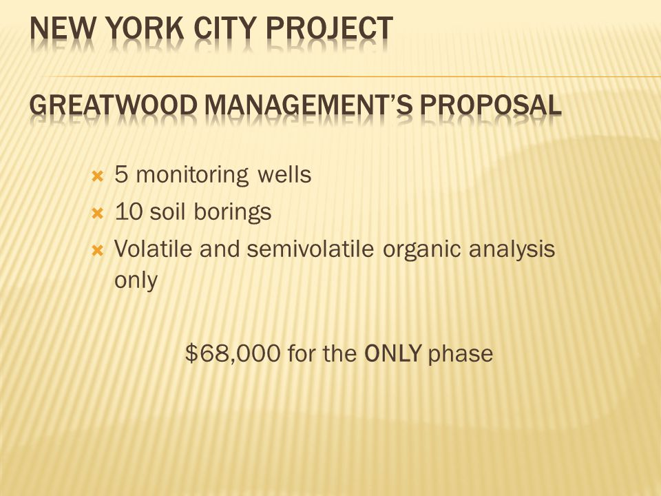  5 monitoring wells  10 soil borings  Volatile and semivolatile organic analysis only $68,000 for the ONLY phase