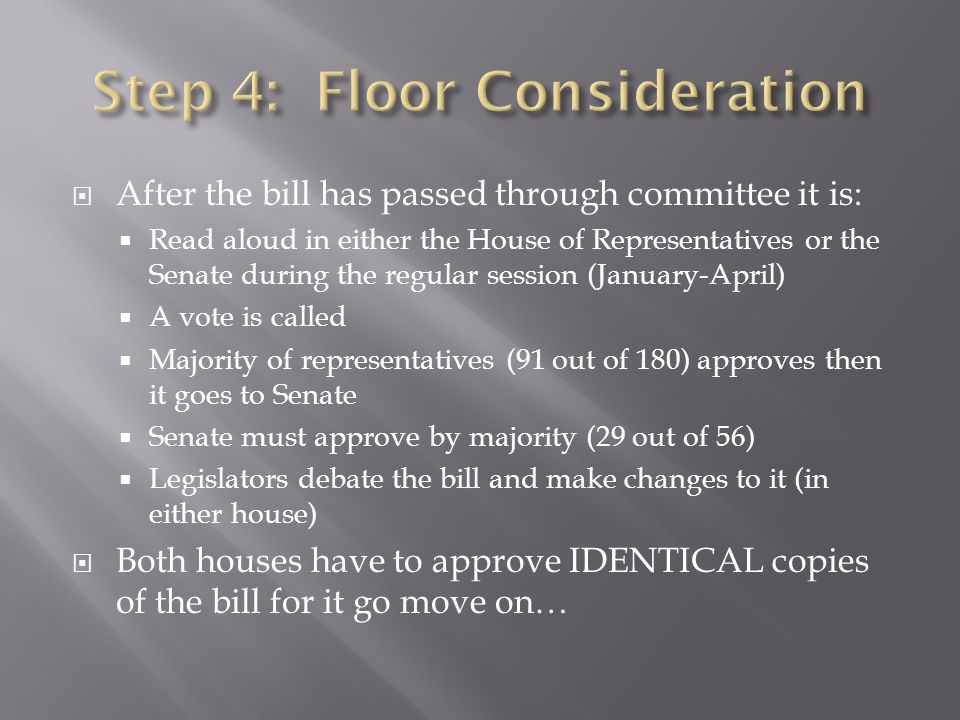  After the bill has passed through committee it is:  Read aloud in either the House of Representatives or the Senate during the regular session (Jan