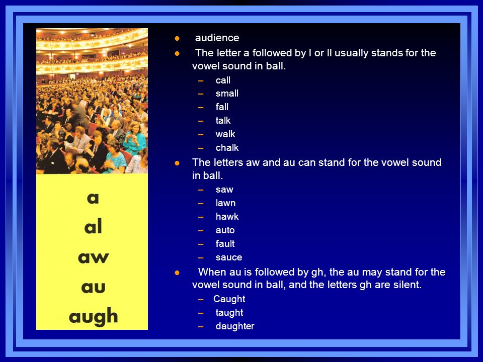 l audience l The letter a followed by l or ll usually stands for the vowel sound in ball.