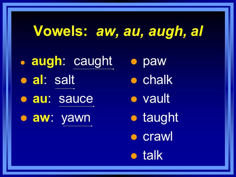 Vowels: aw, au, augh, al l augh: caught l al: salt l au: sauce l aw: yawn l paw l chalk l vault l taught l crawl l talk