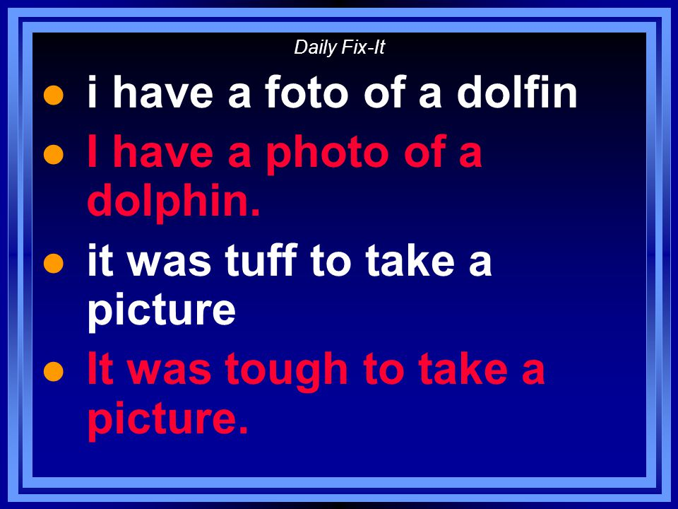 Daily Fix-It l i have a foto of a dolfin l I have a photo of a dolphin.