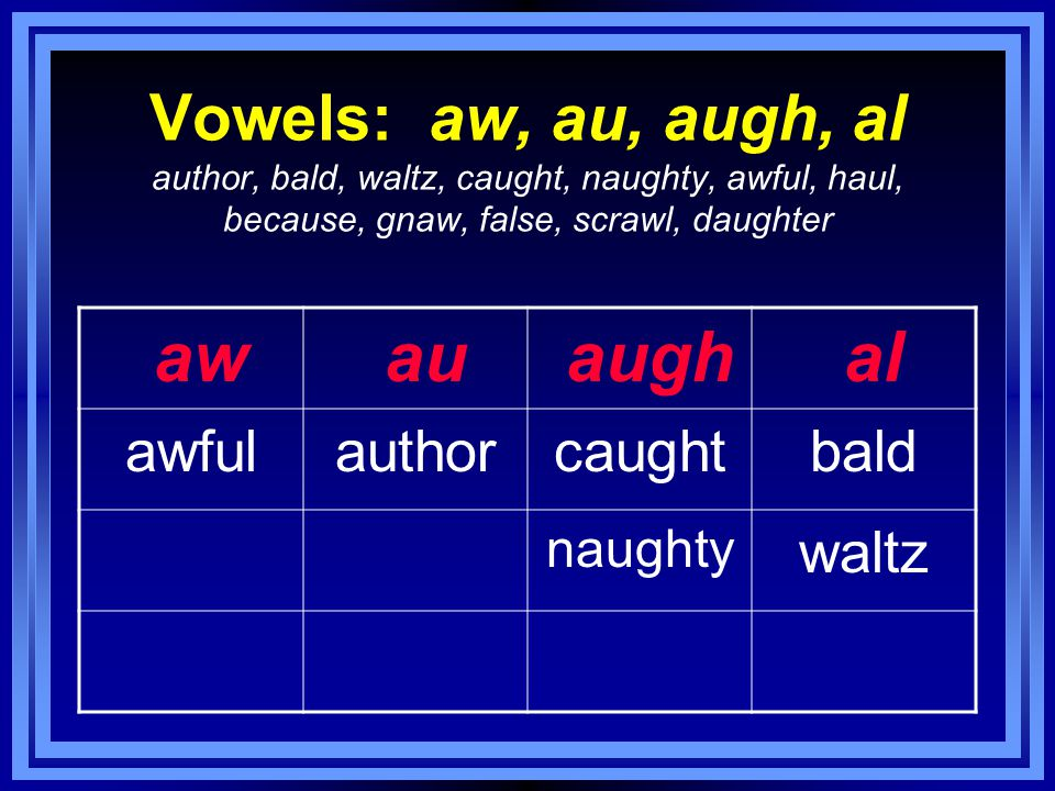 Vowels: aw, au, augh, al author, bald, waltz, caught, naughty, awful, haul, because, gnaw, false, scrawl, daughter aw au augh al awfulauthorcaughtbald naughty waltz