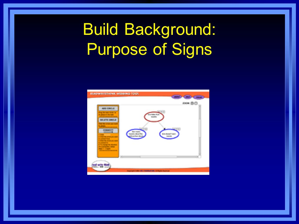 Build Background: Purpose of Signs