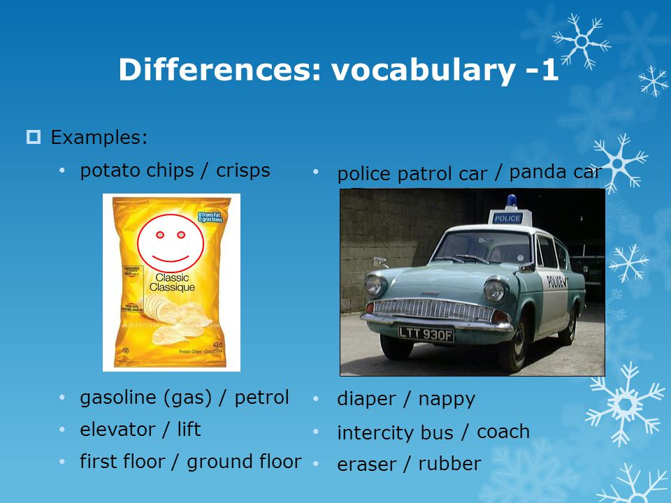 Differences: vocabulary -1  Examples: potato chips / crisps gasoline (gas) / petrol elevator / lift first floor / ground floor / panda car / nappy /