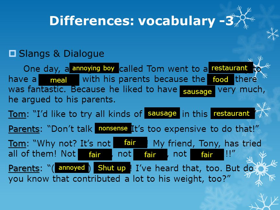 Differences: vocabulary -3  Slangs & Dialogue One day, a blighter called Tom went to a noshery to have a nosh-up with his parents because the nosh th