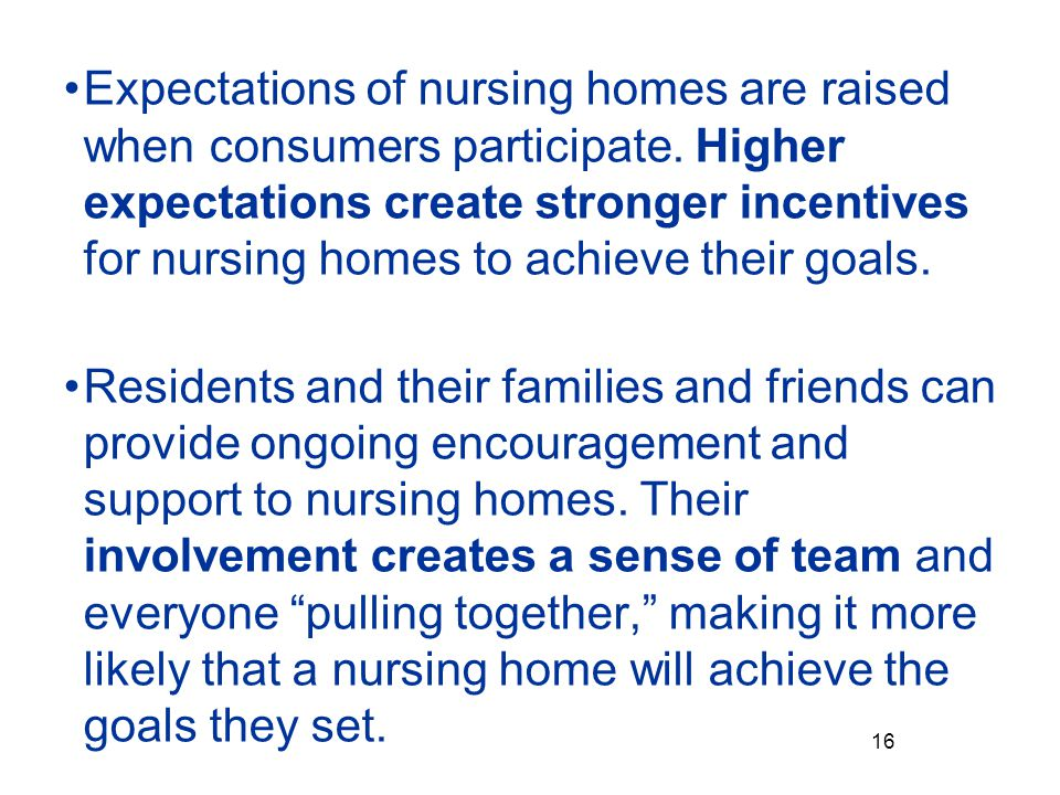 Expectations of nursing homes are raised when consumers participate.