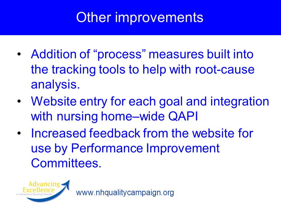 www.nhqualitycampaign.org Other improvements Addition of process measures built into the tracking tools to help with root-cause analysis.