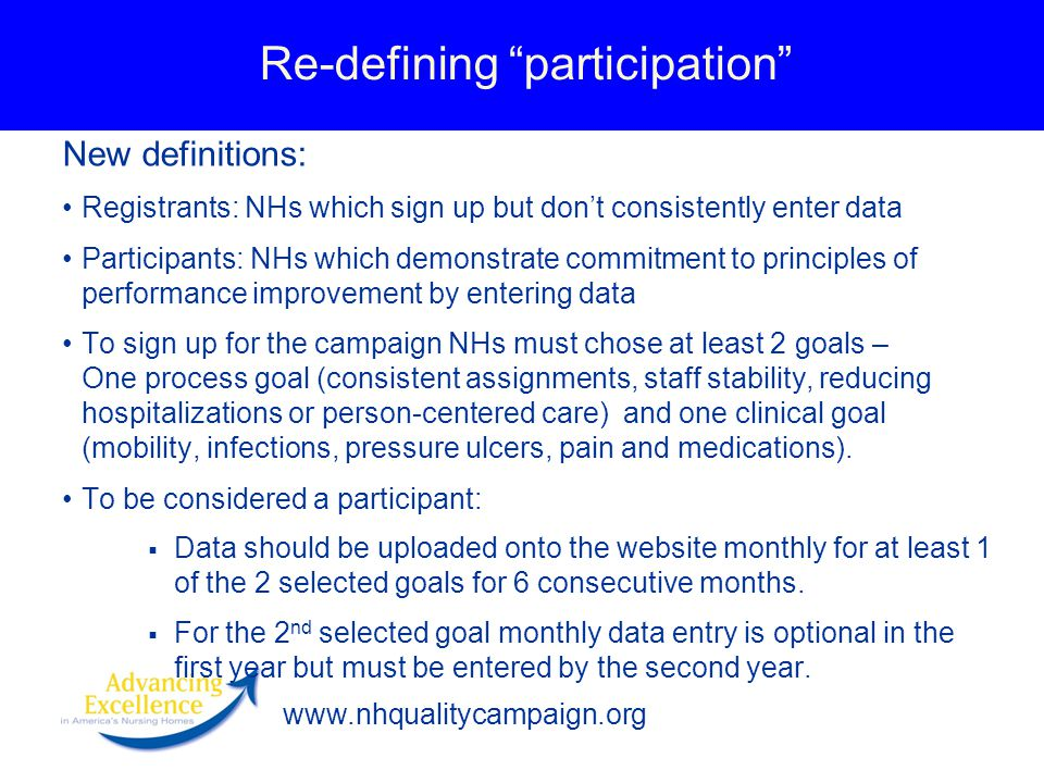 www.nhqualitycampaign.org Re-defining participation New definitions: Registrants: NHs which sign up but don't consistently enter data Participants: NHs which demonstrate commitment to principles of performance improvement by entering data To sign up for the campaign NHs must chose at least 2 goals – One process goal (consistent assignments, staff stability, reducing hospitalizations or person-centered care) and one clinical goal (mobility, infections, pressure ulcers, pain and medications).