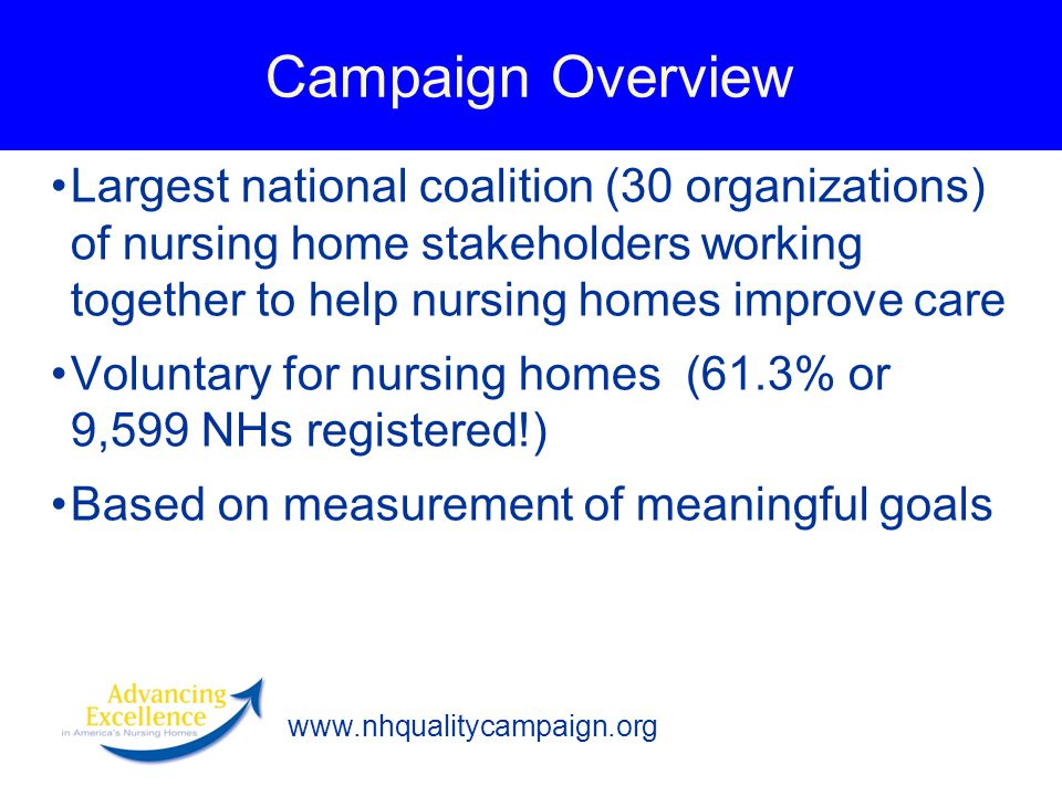 www.nhqualitycampaign.org Campaign Overview Largest national coalition (30 organizations) of nursing home stakeholders working together to help nursing homes improve care Voluntary for nursing homes (61.3% or 9,599 NHs registered!) Based on measurement of meaningful goals