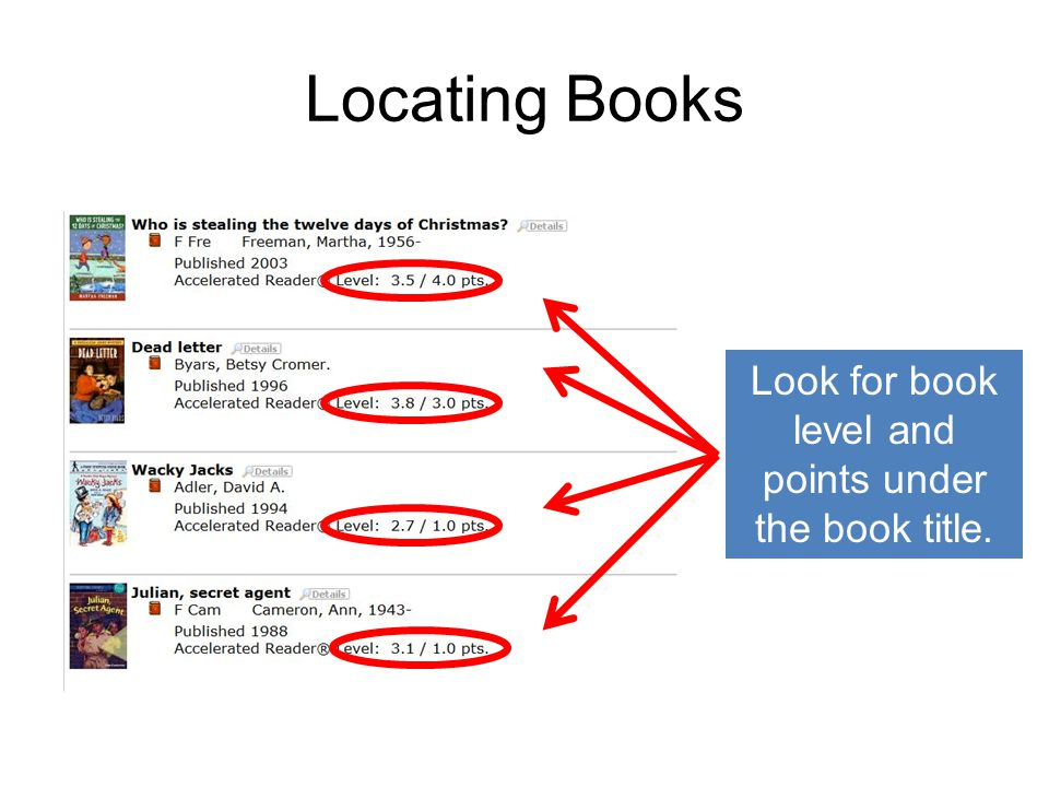 Locating Books Look for book level and points under the book title.