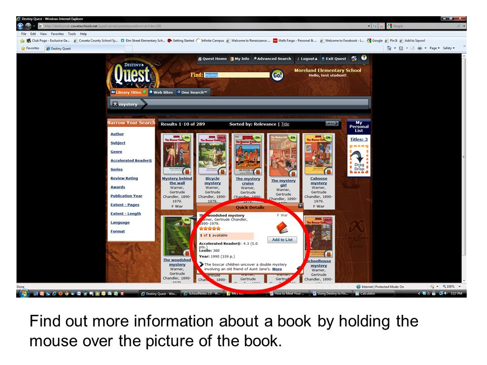 Find out more information about a book by holding the mouse over the picture of the book.