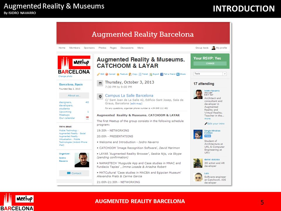Augmented Reality & Museums By ISIDRO NAVARRO AUGMENTED REALITY BARCELONA INTRODUCTION 5
