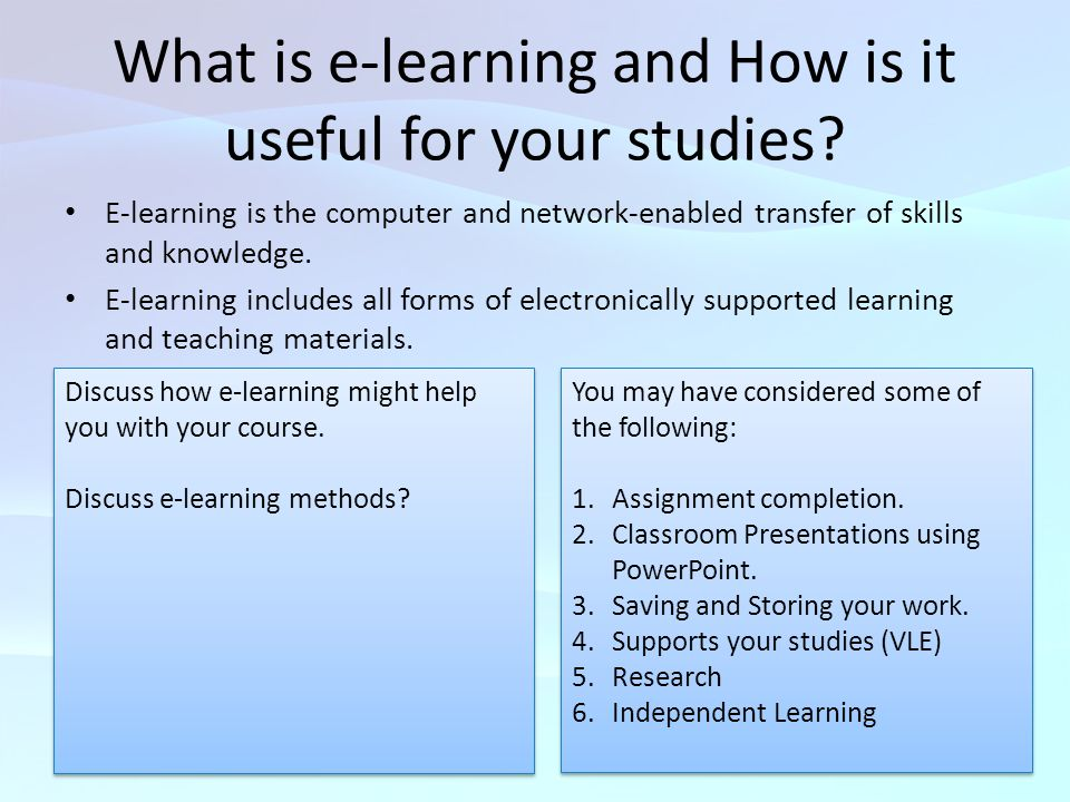 What is e-learning and How is it useful for your studies.